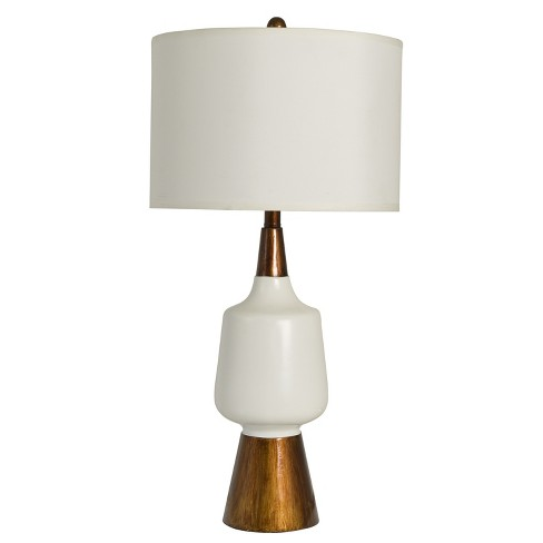Satin And Faux Wood Table Lamp White (Lamp Only) - Decor Therapy - image 1 of 5