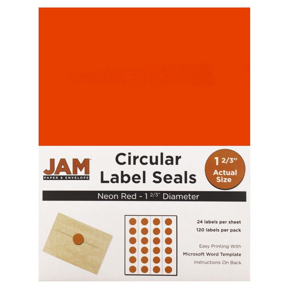 Jam Paper Circle Sticker Seals 1 2/3 120ct - Neon Red Jam Paper Round Circle Label Sticker Seals measure 1 2/3 inches in diameter and are sold on sheets of 24 labels. Each pack contains 5 sheets for a total of 120 labels per pack! These labels feature a light, soft, and inviting baby blue color that will give a peaceful and calm look to your mail. These labels are great for reinforcing envelopes, creating small price tags for yard sales, marking mail or items with initials, and more! Compatible with most printers, these labels can be customized in your own office or home. Additionally, they are easy to write on with most kinds of pens and markers. Try these round labels for your home or office needs. Color: Neon Red. Age Group: Adult.