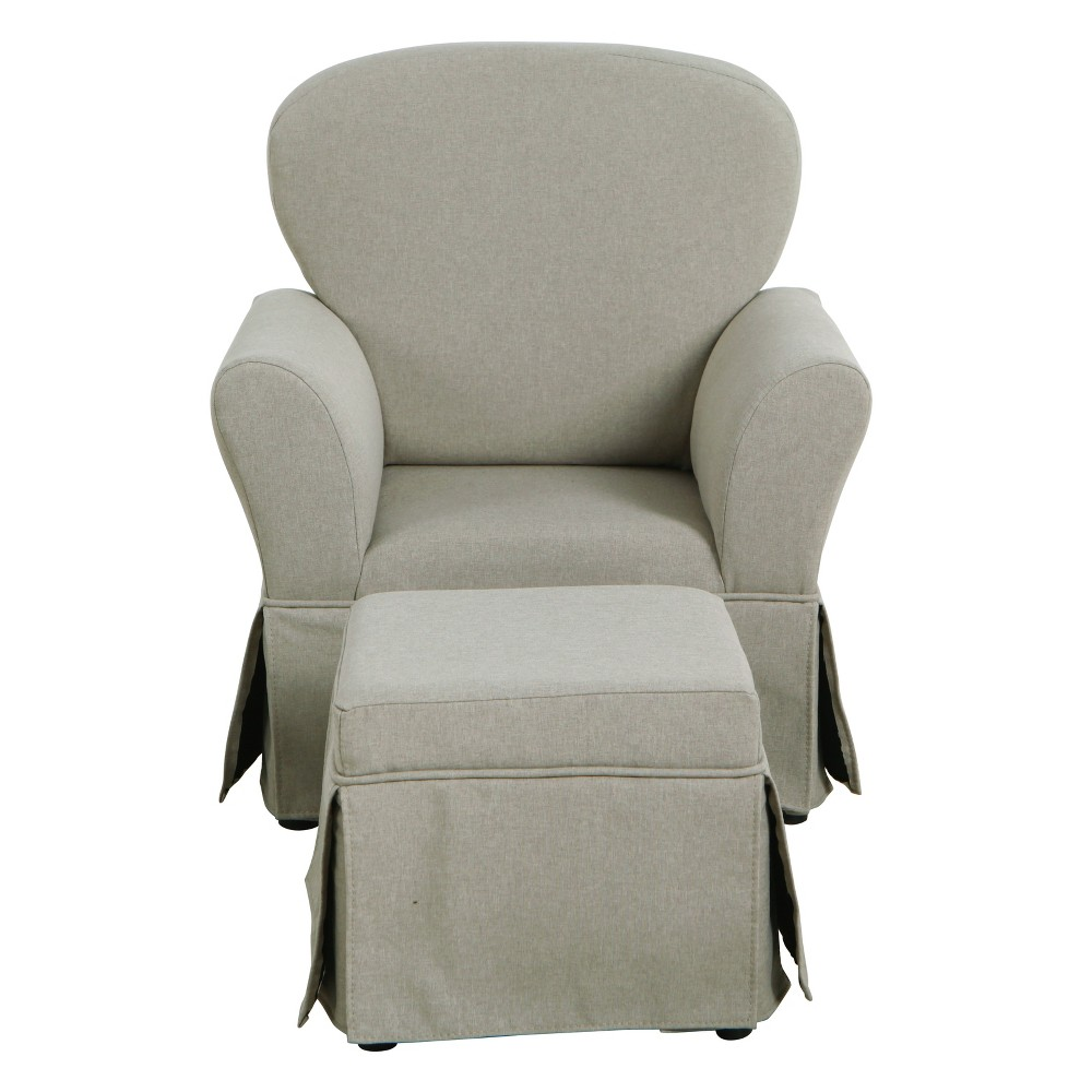 Kids Chair and Ottoman Set Stain Resistant Gray - HomePop was $299.99 now $224.99 (25.0% off)