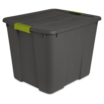 Sterilite 20gal Latching Tote Gray/Green