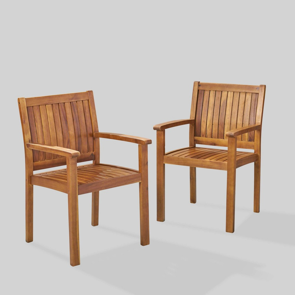 Image of Wilson 2pk Acacia Wood Patio Dining Chair - Teak - Christopher Knight Home