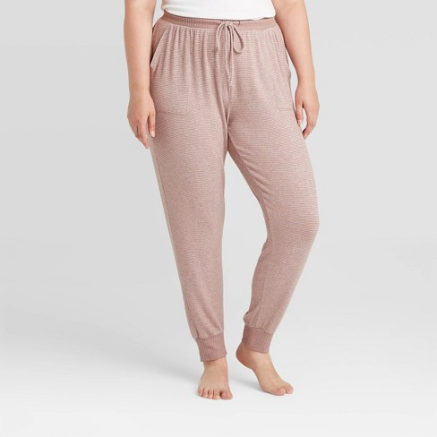 Women's Plus Size Striped Perfectly Cozy Lounge Jogger Pants - Stars Above™ Clay - image 1 of 2