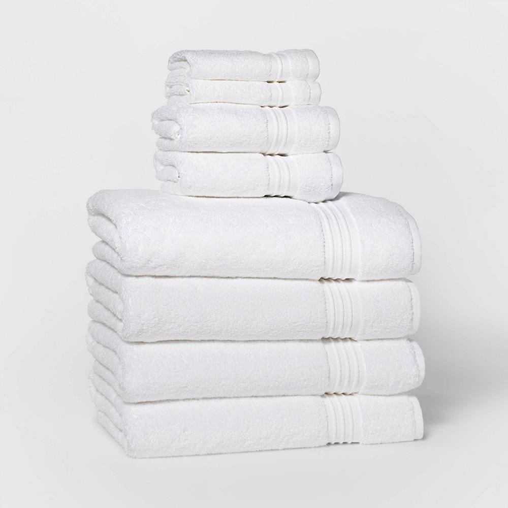 8pc Bath Towel Set White Threshold Signature 8482