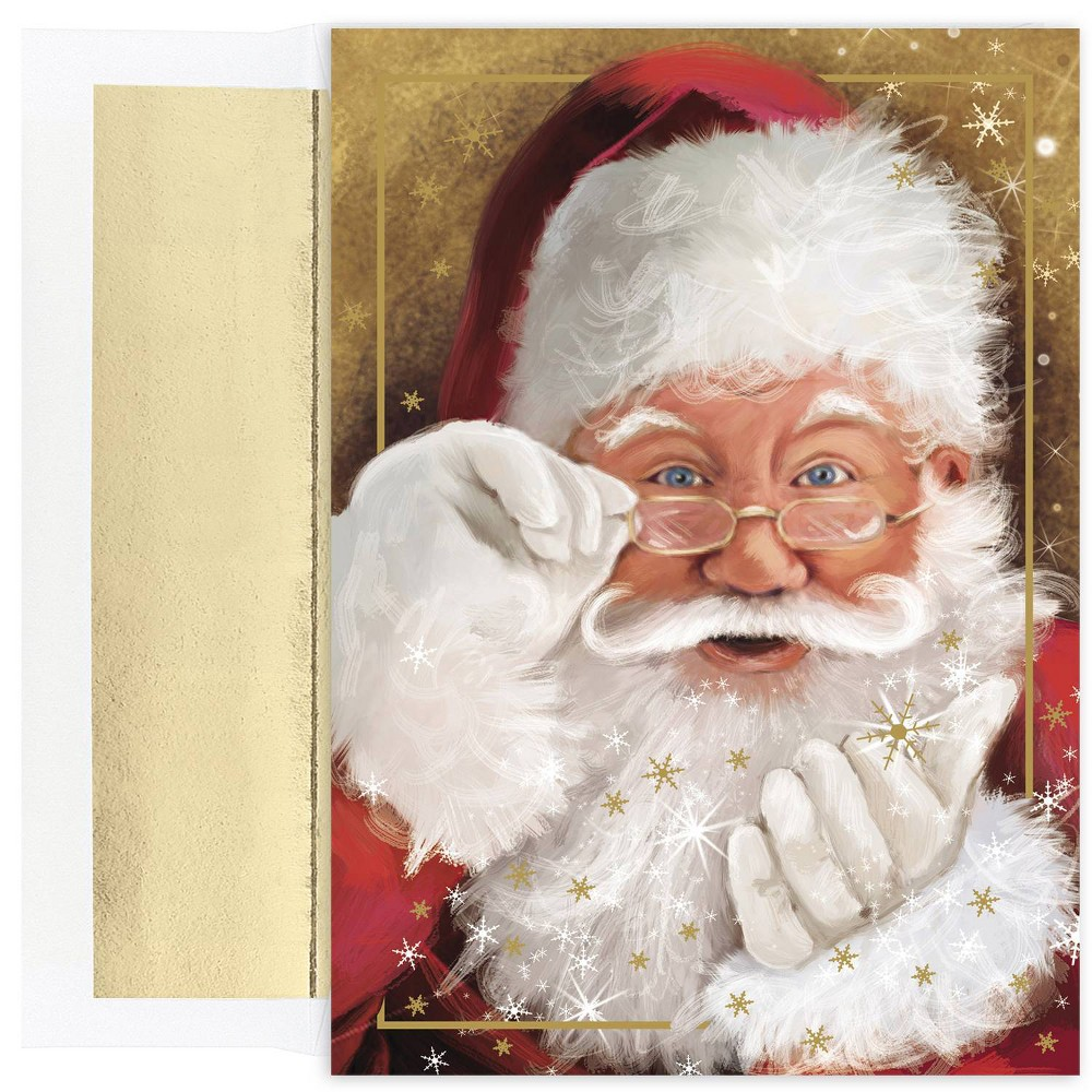Image of 18ct Sparkling Santa Greeting Cards - Masterpiece Studio