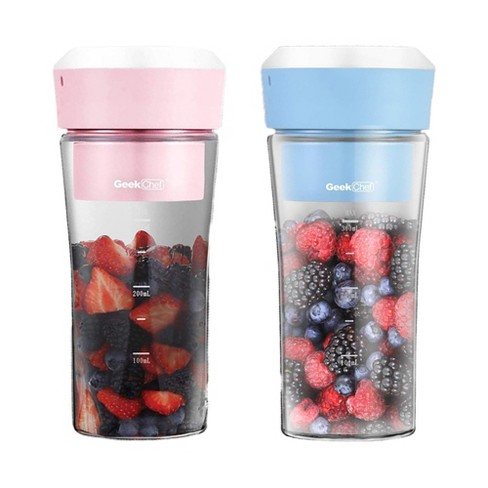 Geek Chef GPB30 10 Oz Portable Personal Cordless Blender, Pink and Blue 2 Pack - image 1 of 4