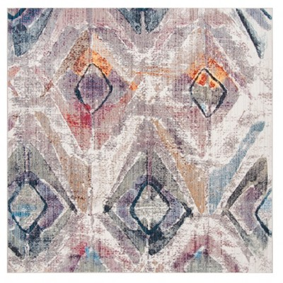Lavender/Light Gray Geometric Loomed Square Area Rug 7'X7' - Safavieh
