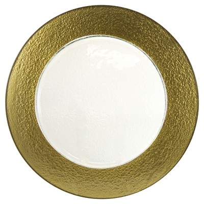 10 Strawberry Street Colored Rim Glass Charger Plates Gold - 13 x13  Set of 6