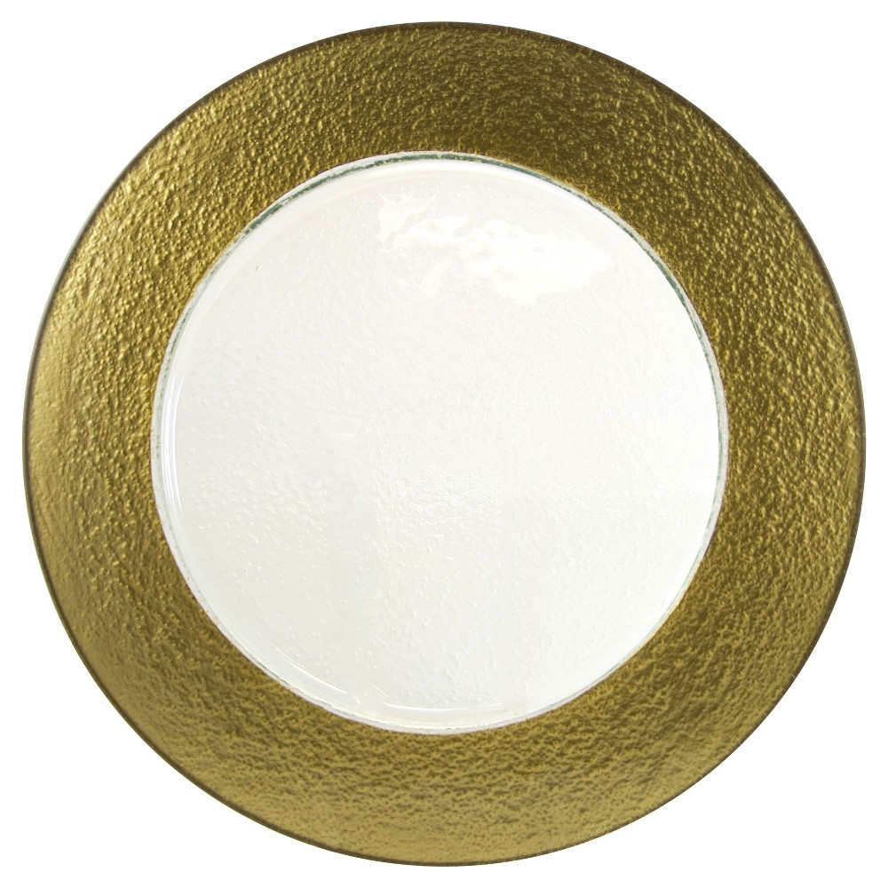 """Image of """"10 Strawberry Street Colored Rim Glass Charger Plates Gold - 13""""""""x13"""""""" Set of 6"""""""
