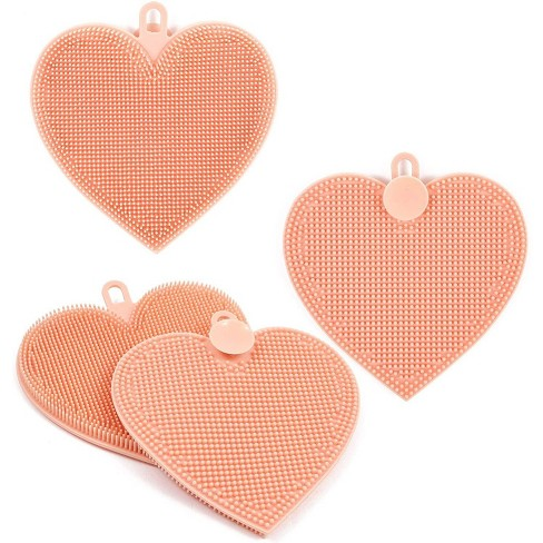 4 Pack Silicone Sponge Scrubber Kitchen Dish Cleaning Washing Brush Trivet Pad 4 8 X5 Pink Heart Target