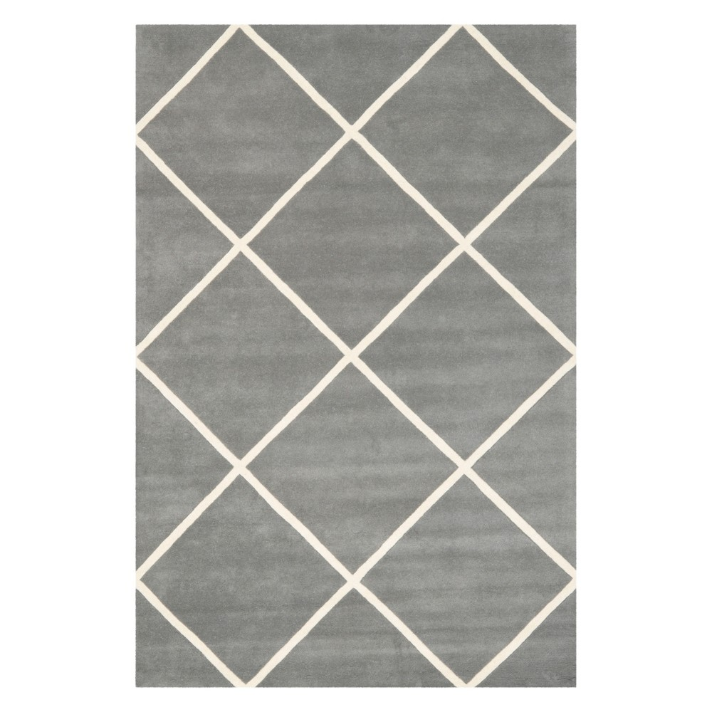 5'X8' Geometric Tufted Area Rug Dark Gray/Ivory - Safavieh