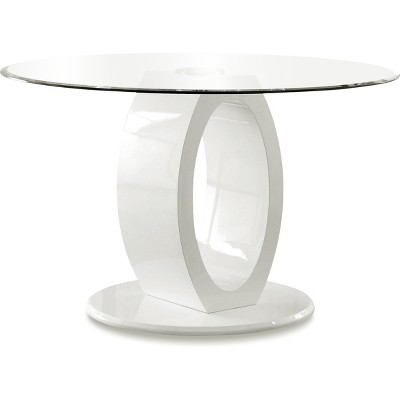 ioHomes Oval Pedestal round Dining Table Wood/White