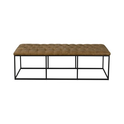 "58"" Draper Large Bench with Button Tufting Faux Leather Light Brown - HomePop"