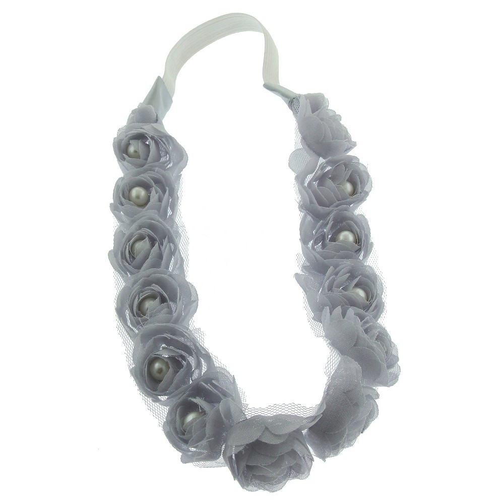 Women's Chiffon Floral Headwrap with Acrylic Pearl Beaded Center Gray - Charlotte