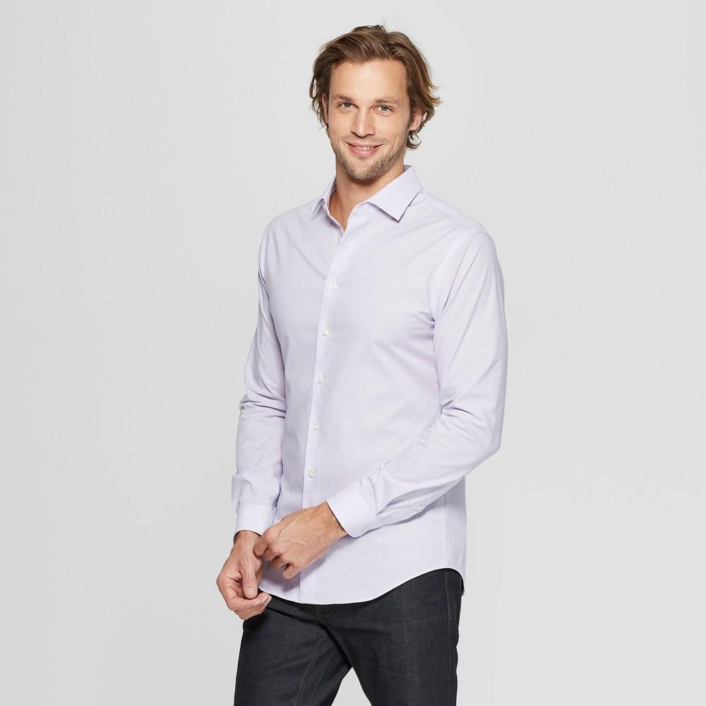 Men's Micro Striped Slim Fit Long Sleeve Woven Button-Down Shirt - Goodfellow & Co Restful Plum XL, Purple