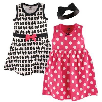 Hudson Baby Infant Girl Cotton Dress and Headband 3pc Set, Bow