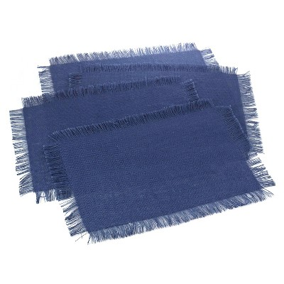 Fringed Jute Placemats Navy Blue (Set of 4)