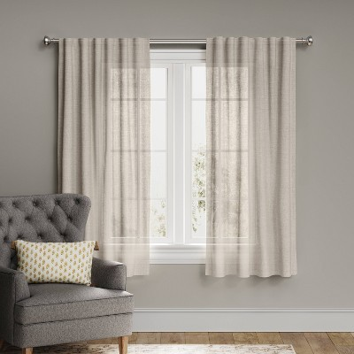 "63""x54"" Linen Light Filtering Curtain Panel Beige - Threshold™"