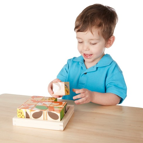 Melissa & Doug My First Wooden Cube Puzzle 9Pcs - Animals - image 1 of 3