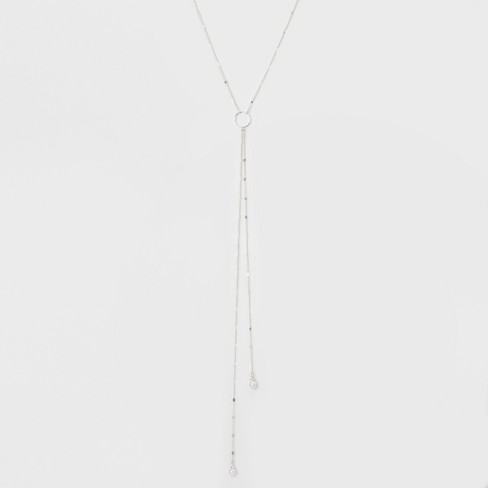 Hanging Pearls Long Necklace - A New Day™ Silver - image 1 of 3