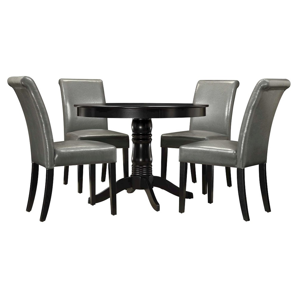 Haskell 5-Piece Round Black Dining Set - Gray Chair