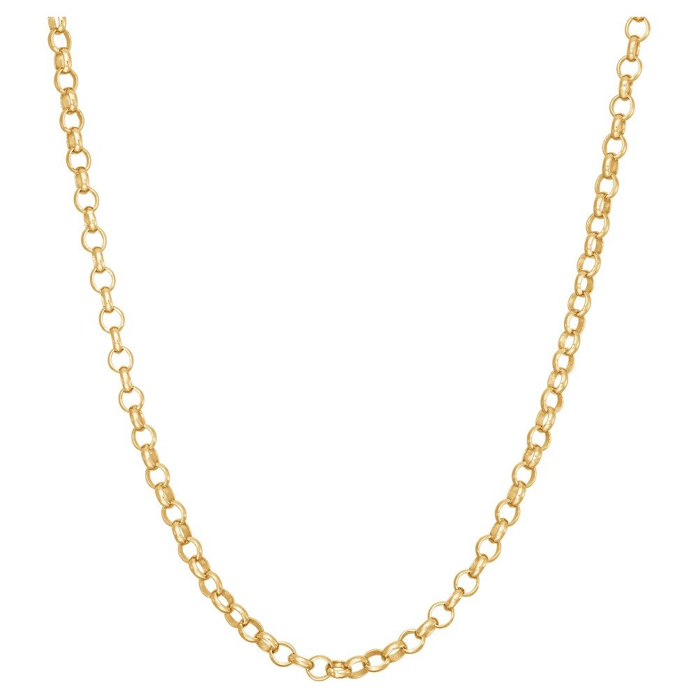 Tiara Gold Over Silver 20 Rolo Chain Necklace, Size: 20 inch, Yellow