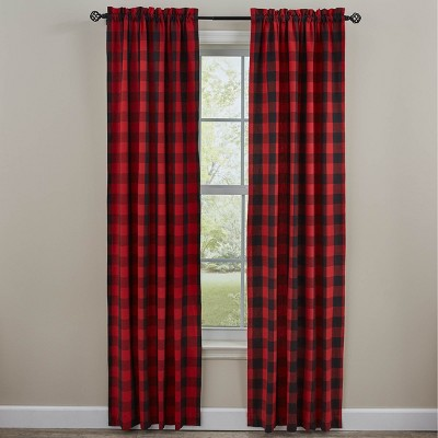 """Park Designs Buffalo Check Lined Panel Pairs - 72"""" x 84"""" - Red"""