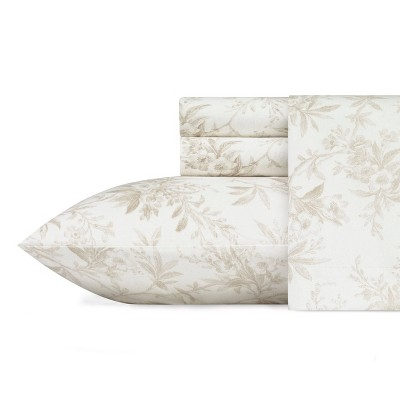King Printed Pattern Cotton Flannel Sheet Set Beige - Laura Ashley