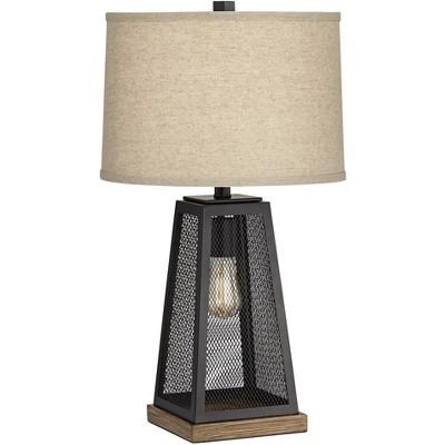 Franklin Iron Works Industrial Artisan Table Lamp with Nightlight LED USB Port Metal Mesh Burlap Shade for Living Room Bedroom