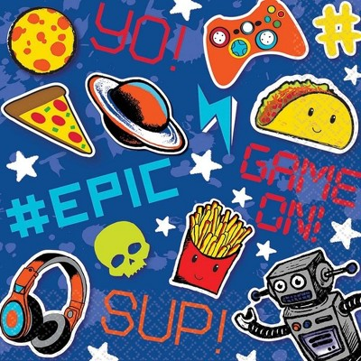 """Amscan Epic Party 6.5"""" Lunch Napkins, 16-Pack"""