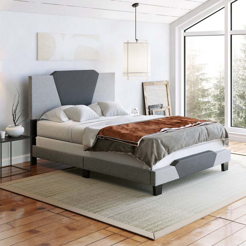 Queen Sydney Contemporary Linen Upholstered Bed Frame Charcoal Gray Eco Dream