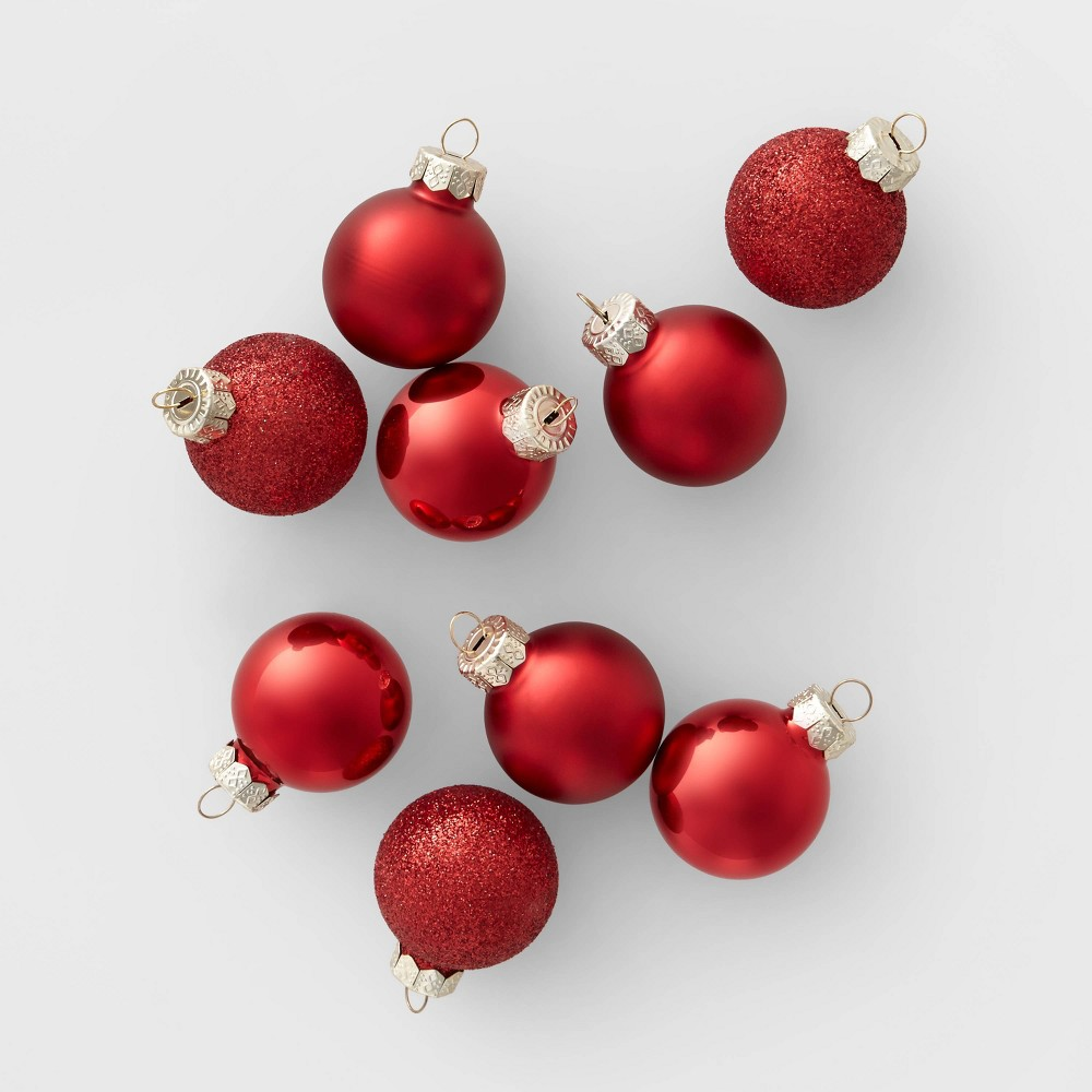 Image of 18ct Mini Glass Round Christmas Ornament Red - Wondershop