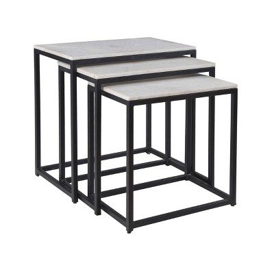 Set of 3 Ponga Nesting Tables Black - Treasure Trove Accents