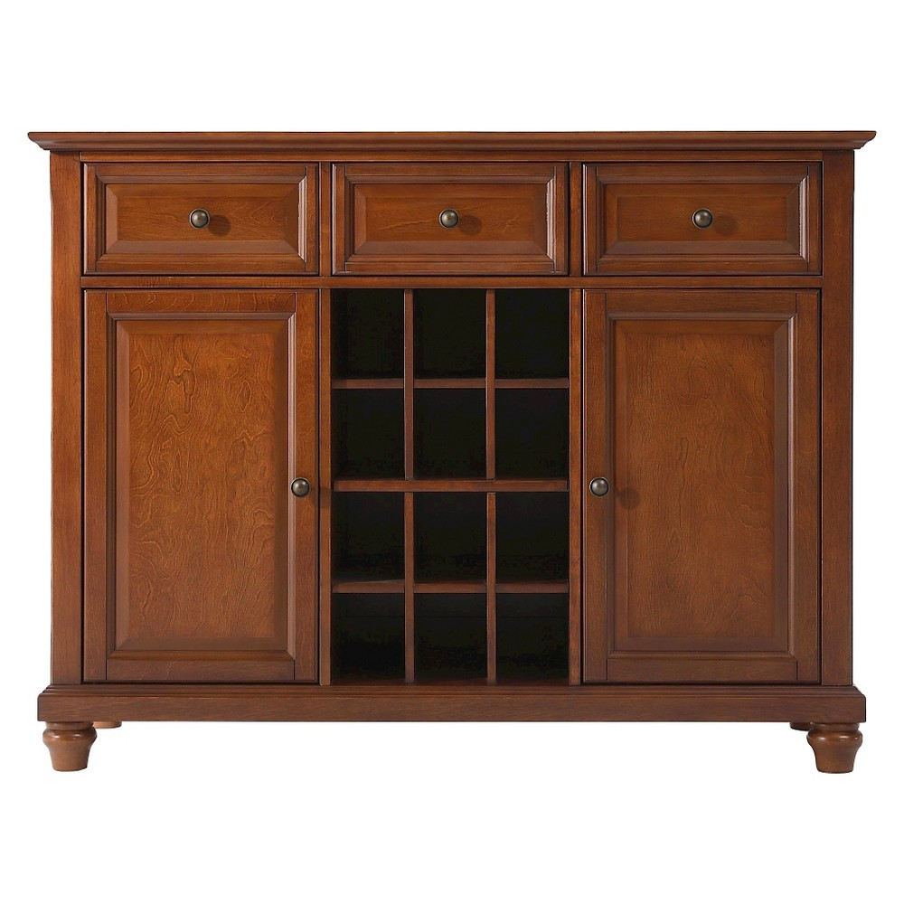 Cambridge Buffet Server/Sideboard Cabinet with Wine Storage - Cherry (Red) - Crosley