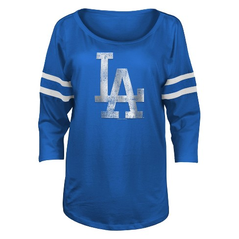 05060680a23 Los Angeles Dodgers Women s Striped 3 4 Sleeve Distressed Logo Scoop ...