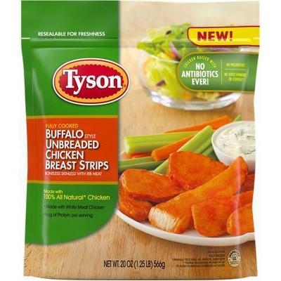 Tyson Unbreaded Buffalo Chicken Breast Strips - Frozen - 20oz