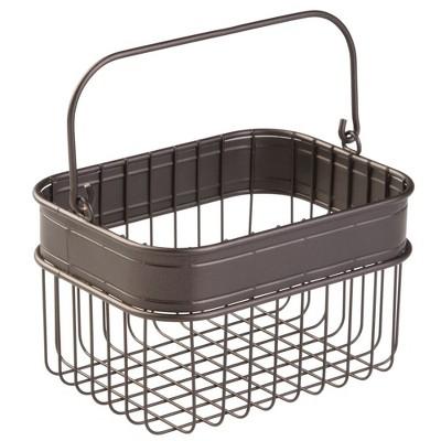 mDesign Small Metal Kitchen Food Storage Organizer Basket with Handle - Bronze