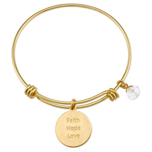 Women S Stainless Steel Faith Hope Love Cross Expandable Bracelet Gold 8 Target
