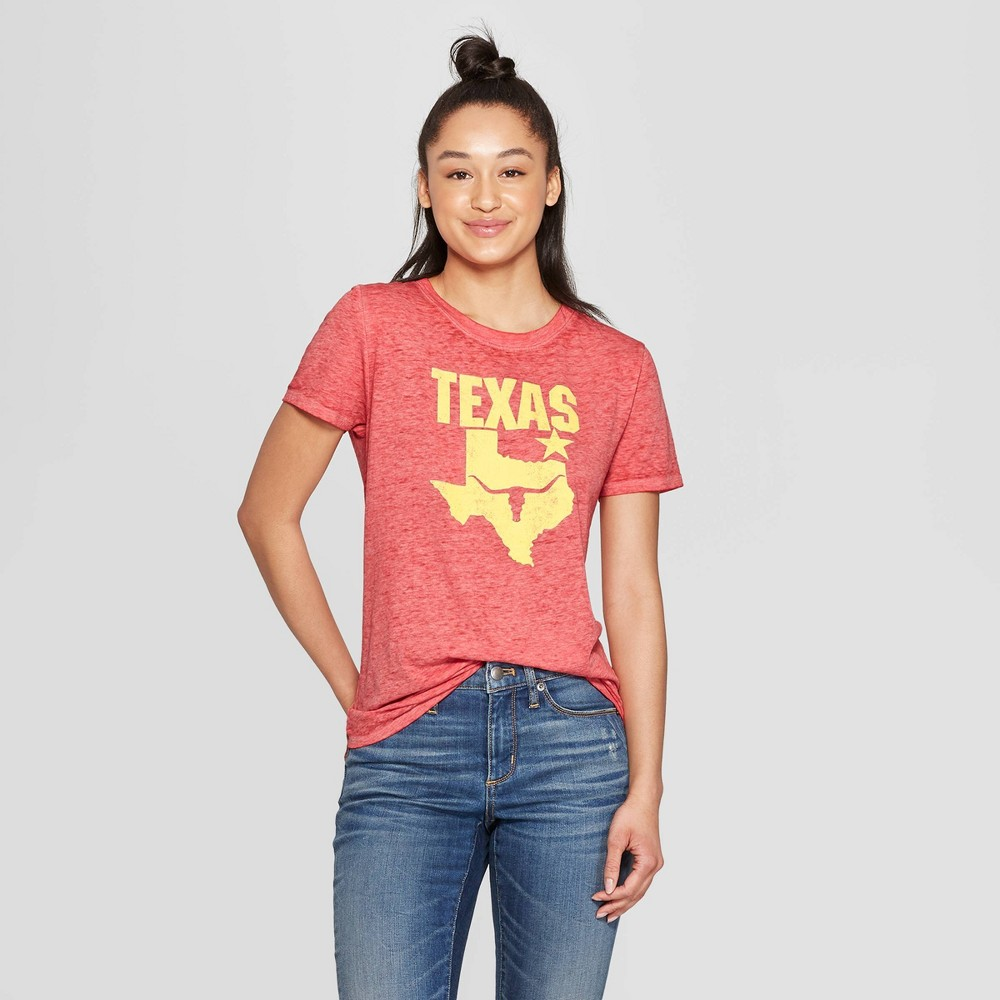 Image of Women's Casual Fit Short Sleeve Crewneck Texas Longhorn Graphic T-Shirt - Modern Lux Red L, Size: Large