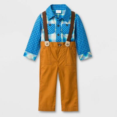 Baby Boys' Plaid Top with Twill Suspenders Bottom Set - Cat & Jack™ Brown/Blue 0-3M