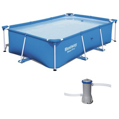 Bestway 8.5t x 5.5ft x 24in Rectangular Above Ground Pool Frame with Filter Pump