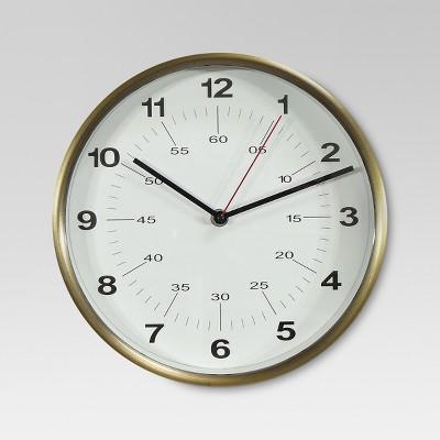 10  Round Wall Clock Warm Brass - Threshold™