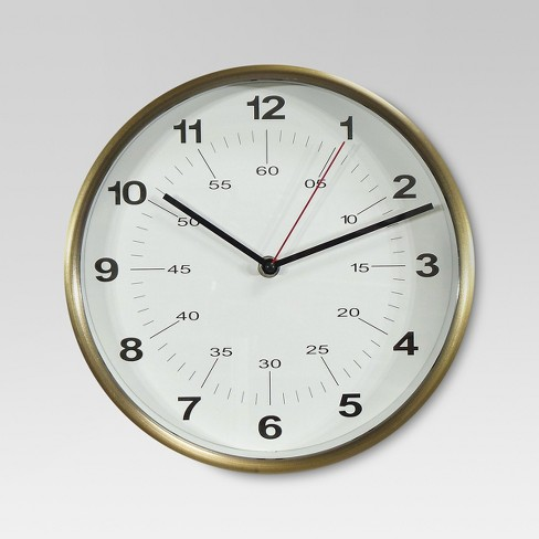 "10"" Round Wall Clock Warm Brass - Threshold™ - image 1 of 2"