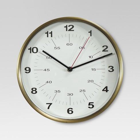 "10"" Round Wall Clock Warm Brass - Threshold™ - image 1 of 2"