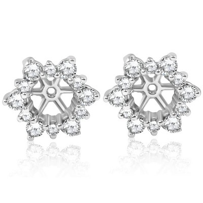 Pompeii3 7/8ct Diamond Earring Studs Jackets 14K White Gold (5.5-6mm)