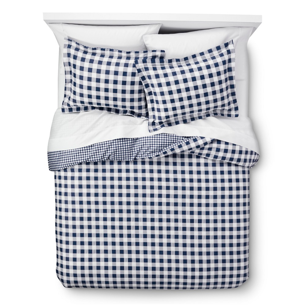 Navy (Blue) Gingham Reversible Duvet Cover Set Full/Queen 3pc - Elite Home Products