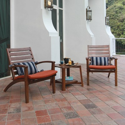 Westlake 3pc Wood Patio Chat Set with Cushion - Red Brick - Cambridge Casual