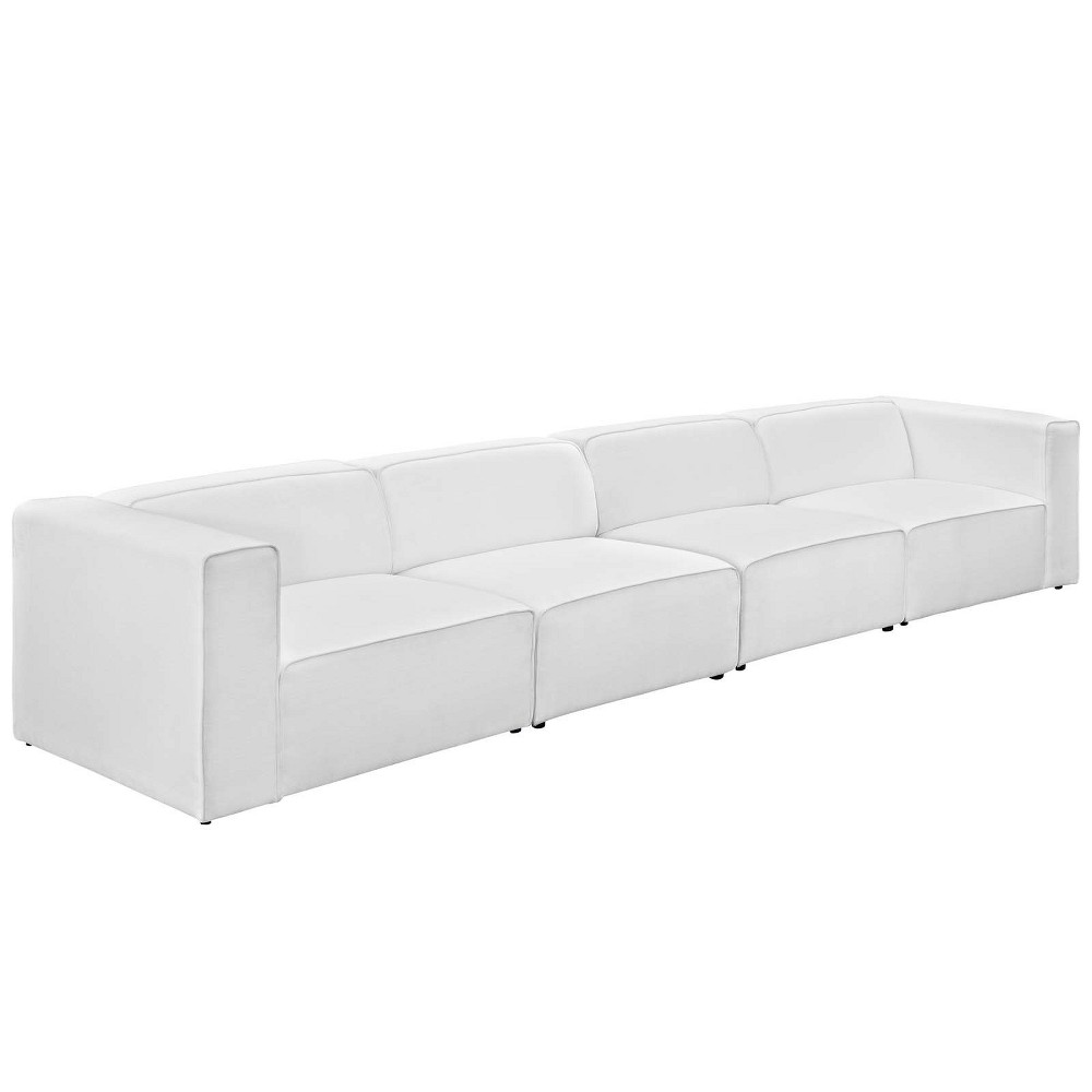 Mingle 4pc Upholstered Fabric Sectional Sofa Set White - Modway