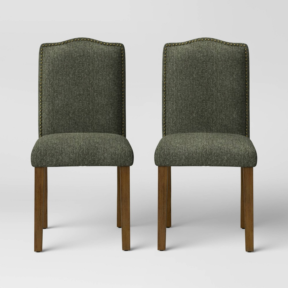 2pc Camelot Nailhead Dining Chair Dark Green Herringbone Threshold 8482