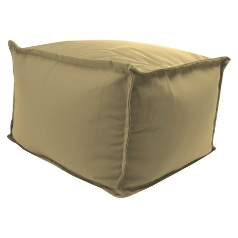 Outdoor Bean Filled Pouf/Ottoman In Sunbrella Canvas Heather Beige  - Jordan Manufacturing - image 1 of 2