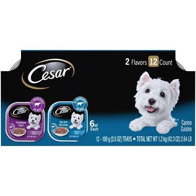 Cesar Filets In Gravy Wet Dog Food Filet Mignon & NY Strip Flavors - 3.5oz/12ct Variety Pack